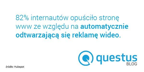 Statystyki Questus - automatycznie odtwarzająca się reklama wideo aopuszczenia strony