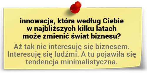 Ks. Jacek Stryczek oinnowacjach - tendencja minimalistyczna